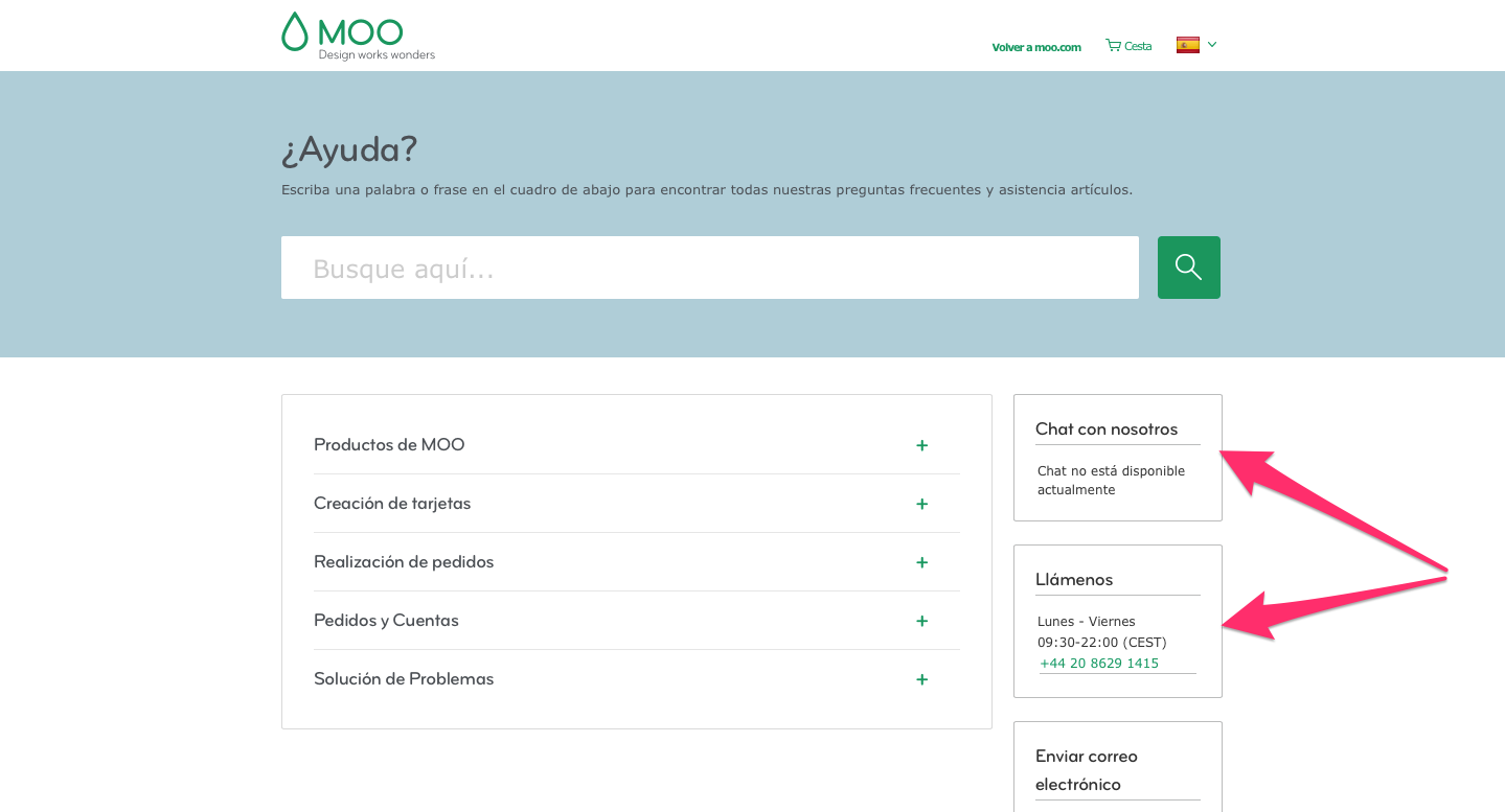 An Example Of How Moo Displays Localized Agent Availabilities, In This Case  For Spain.