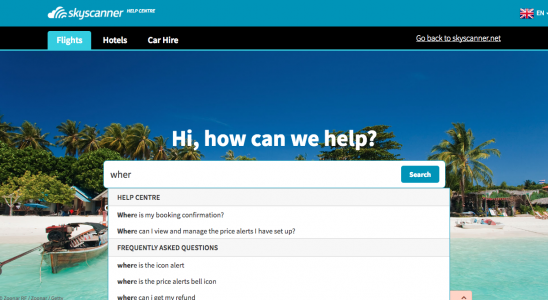 Skyscanner customized Zendesk Help Center