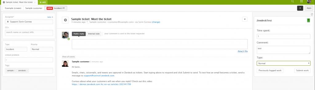 Toggl integrated Zendesk App