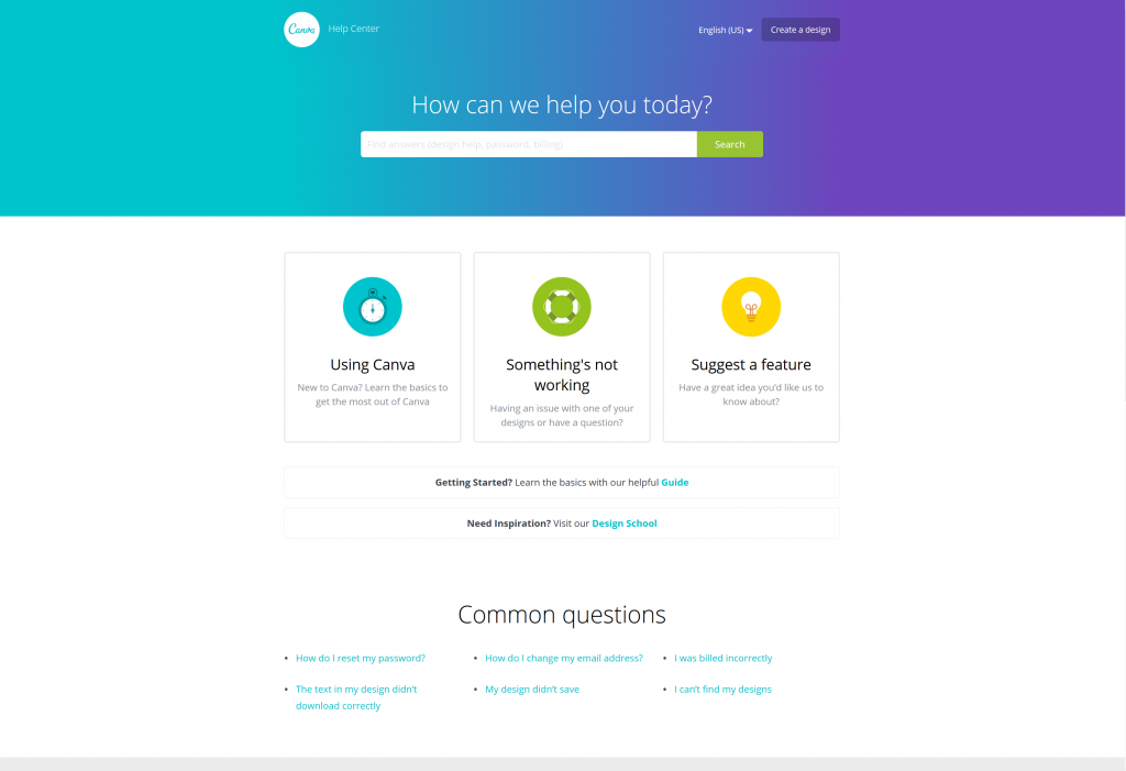 An Example of a great Help Center design using good colors, UX, and icons