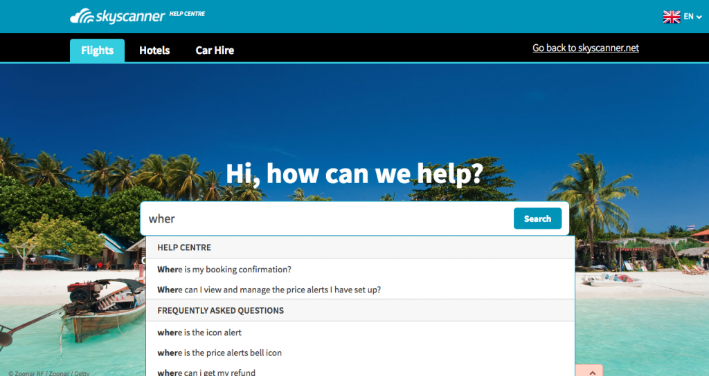 Skyscanner's slick Zendesk Help Center design.
